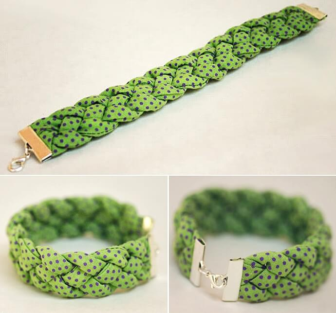 Run a piece of cord on the inside of each fabric strap to give the bracelet some 'volume'.