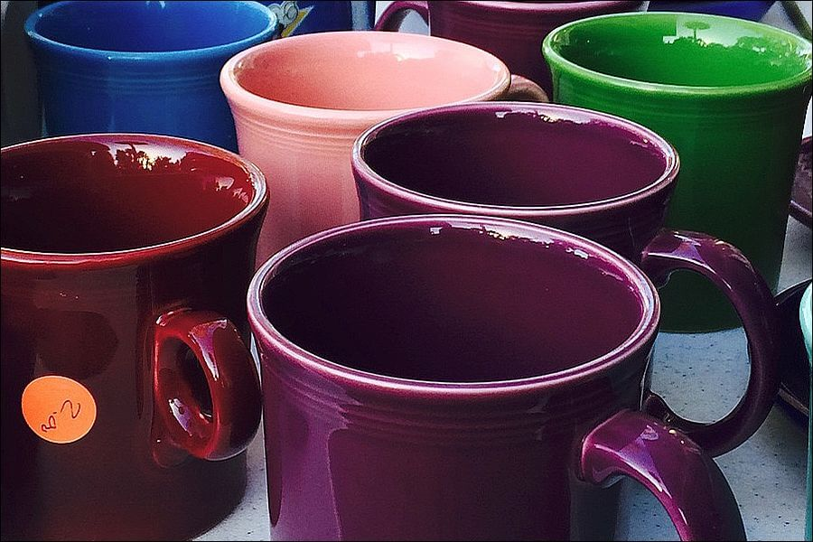 Fiestaware is cheap enough to have a different color mug for each day of the week.