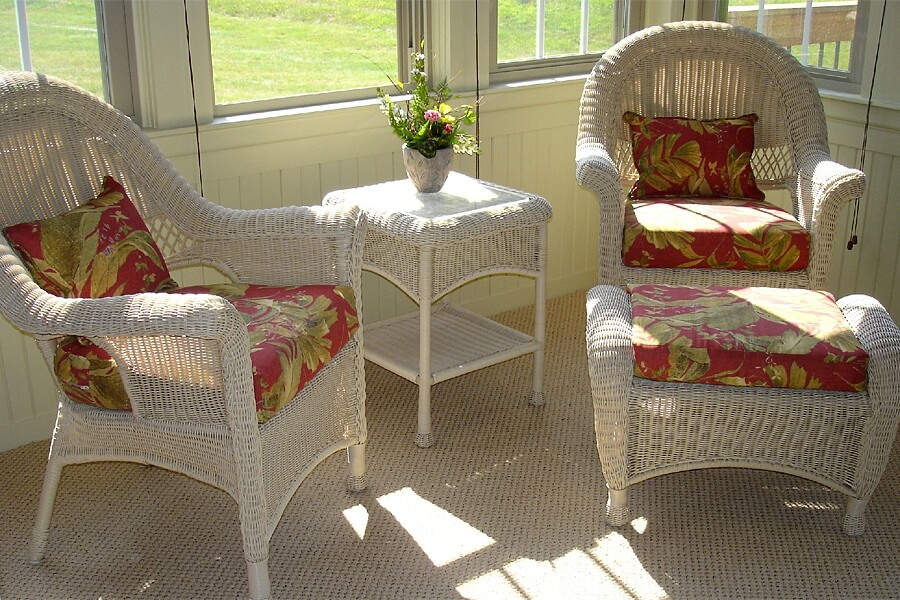 Rattan chairs are easy to clean and repaint for a lifetime of use.